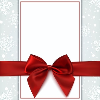 Tarjeta de felicitación en blanco con lazo rojo y nieve. plantilla de invitación, volante o folleto. ilustración.