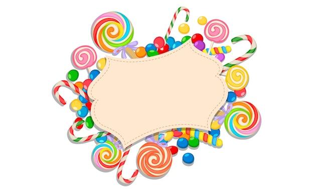Tarjeta de felicitación en blanco del tema del caramelo