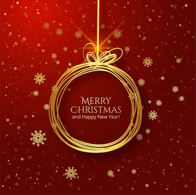 Tarjeta de felicitación de bola de navidad de contorno dorado