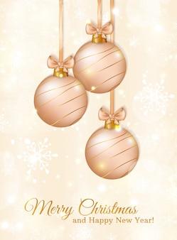 Tarjeta de felicitación con bolas de navidad. ilustración.