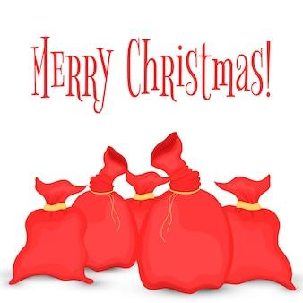 Tarjeta de felicitación con una bolsa de santa claus. ilustración de la bolsa roja de navidad. colección de año nuevo. aislado sobre fondo blanco.