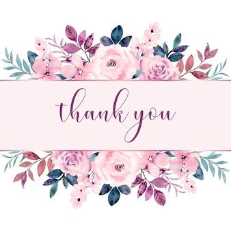 Tarjeta de felicitación con borde de flor rosa rosa