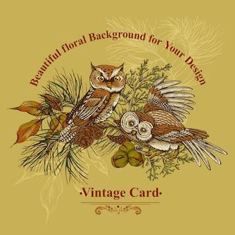 Tarjeta de felicitación de bosque con búhos, abetos y conos de abeto.