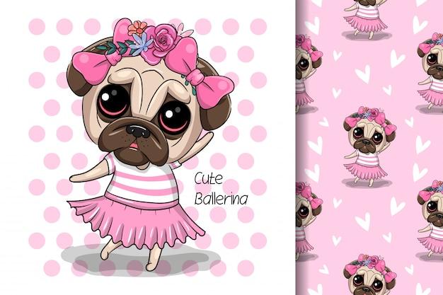 Tarjeta de felicitación cachorro niña con flores sobre un fondo rosa