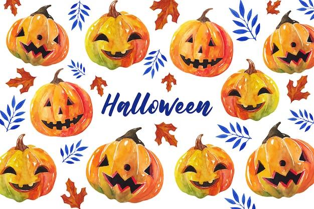Tarjeta de felicitación de calabazas de halloween en estilo acuarela