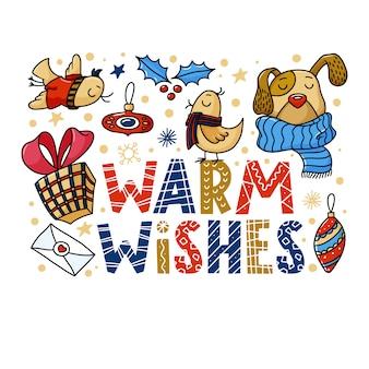 Tarjeta de felicitación de cálidos deseos con divertidos perros y pájaros
