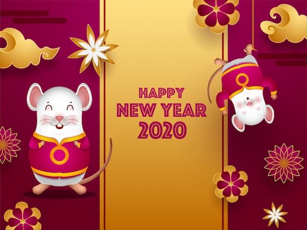 Tarjeta de felicitación de celebración 2020 decorada con flores de papel cortadas, nubes y ratas de dibujos animados para el feliz año nuevo chino.