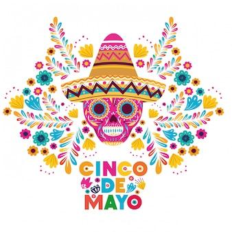 Tarjeta de felicitación de celebración del cinco de mayo