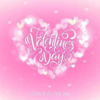 Tarjeta de felicitación de celebración feliz día de san valentín decorada con forma de corazón bokeh.