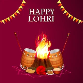 Tarjeta de felicitación de celebración feliz lohri