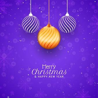 Tarjeta de felicitación de celebración de feliz navidad de color violeta