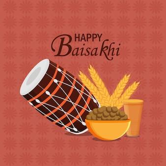 Tarjeta de felicitación de celebración feliz vaisakhi con tambor
