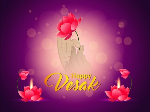 Tarjeta de felicitación de celebración feliz vesak