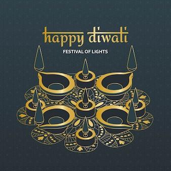 Tarjeta de felicitación para la celebración del festival de diwali en india