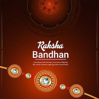 Tarjeta de felicitación de celebración de raksha bandhan con crystal rakhi