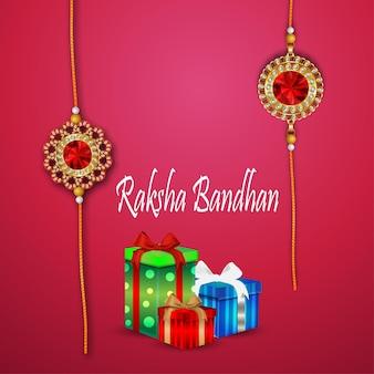 Tarjeta de felicitación de celebración de raksha bandhan realista con regalos creativos
