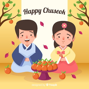 Tarjeta de felicitación de chuseok con pareja