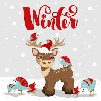 Tarjeta de felicitación con ciervos de navidad. feliz navidad letras dibujadas a mano. impresión en tela, papel, postales, invitaciones.