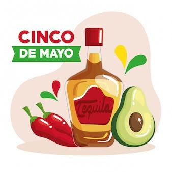 Tarjeta de felicitación de cinco de mayo con botella de tequila y decoración, diseño de ilustraciones vectoriales