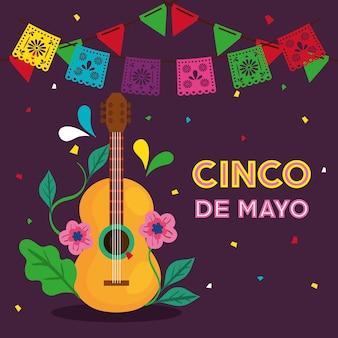 Tarjeta de felicitación de cinco de mayo con diseño de ilustración de vector de guitarra y decoración