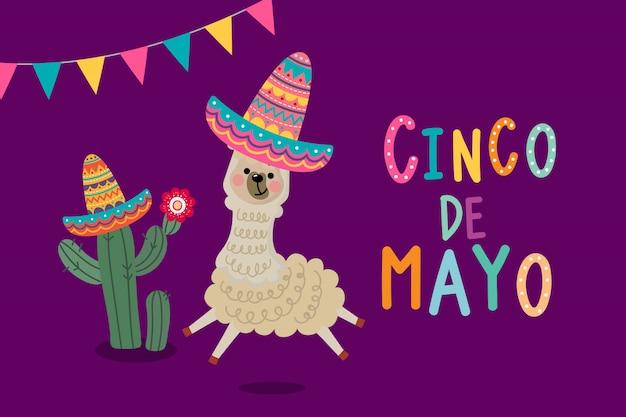 Tarjeta de felicitación del cinco de mayo con linda alpaca y cactus.