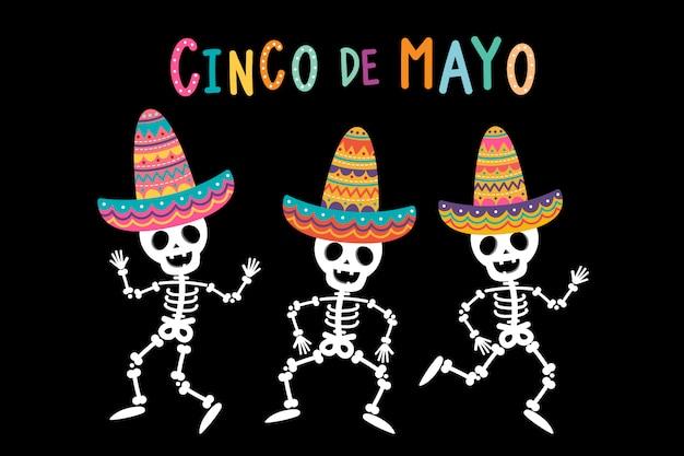 Tarjeta de felicitación del cinco de mayo con lindo esqueleto y sombrero colorido.