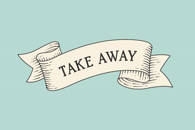 Tarjeta de felicitación con cinta y palabra para llevar