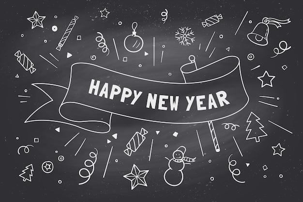 Tarjeta de felicitación con cinta roja e inscripción feliz año nuevo en tema de navidad.