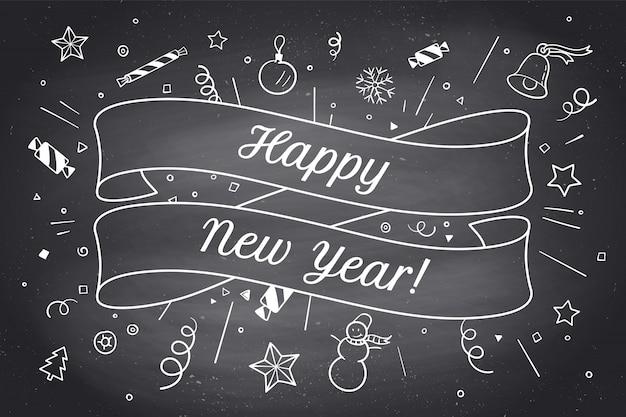 Tarjeta de felicitación con cinta roja y feliz año nuevo