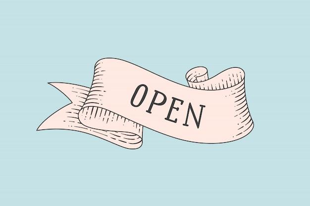 Tarjeta de felicitación con cinta vintage y palabra abierta