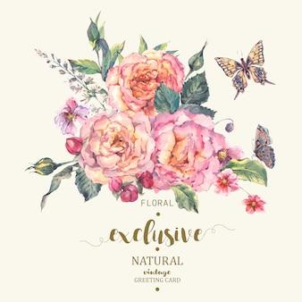 Tarjeta de felicitación clásica de rosas vintage