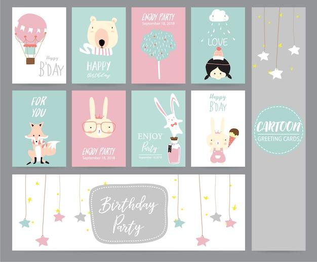 Tarjeta de felicitación de color rosa pastel verde con globo, oso, árbol, niña, zorro, conejo y estrella