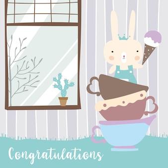 Tarjeta de felicitación en colores pastel azul verde