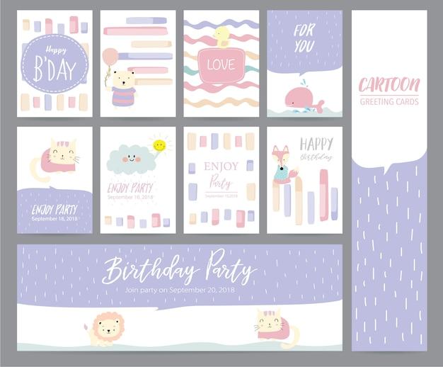 Tarjeta de felicitación en colores pastel violeta con gato, conejo, pato, ballena, zorro, gato y nube