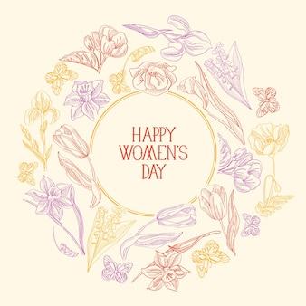 Tarjeta de felicitación colorida de la composición del bosquejo del marco redondo con muchos objetos alrededor del texto sobre el día de la mujer decorado con la ilustración del vector de las flores
