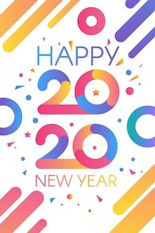 Tarjeta de felicitación colorida de feliz año nuevo 2020