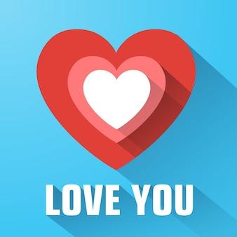 Tarjeta de felicitación con confesión de amor corazón plano rojo ilustración de larga sombra