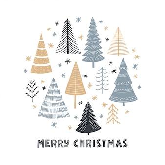 Tarjeta de felicitación de conjunto de árbol de navidad