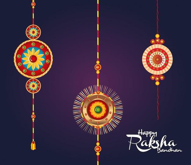 Tarjeta de felicitación con conjunto decorativo de rakhi colgando para raksha bandhan