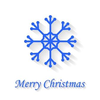 Tarjeta de felicitación de copo de nieve sobre fondo blanco feliz navidad.