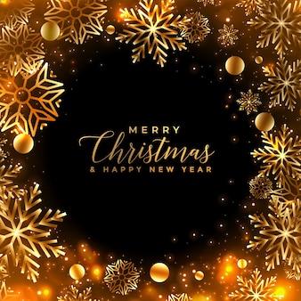 Tarjeta de felicitación de copos de nieve de navidad dorada brillante