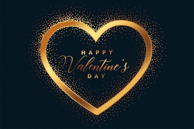 Tarjeta de felicitación del corazón del día de san valentín feliz brillo dorado