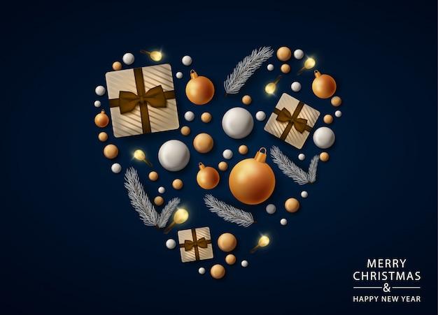 Tarjeta de felicitación de corazón de feliz navidad con decoraciones realistas, bolas y regalos
