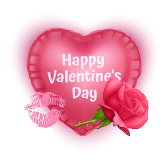 Tarjeta de felicitación de corazón rojo del día de san valentín