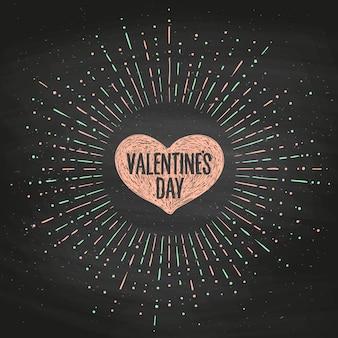 Tarjeta de felicitación con corazón rosa y mensaje de san valentín.