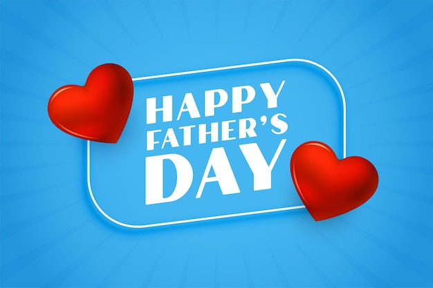 Tarjeta de felicitación de corazones agradables del día del padre feliz