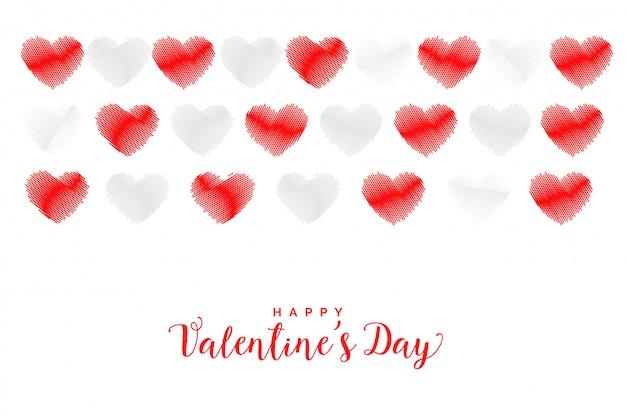 Tarjeta de felicitación de corazones de estilo garabato rojo y blanco