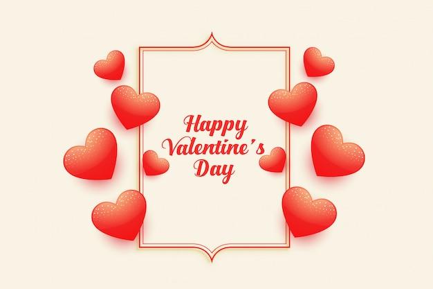 Tarjeta de felicitación de corazones volando feliz día de san valentín