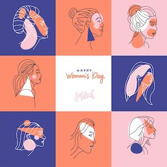 Tarjeta de felicitación cuadrada para el día internacional de la mujer.