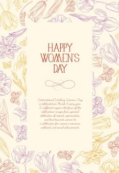 Tarjeta de felicitación cuadrada del día de la mujer feliz con muchos colores y flores alrededor del texto rojo con saludos en la ilustración de vector de superficie rosa